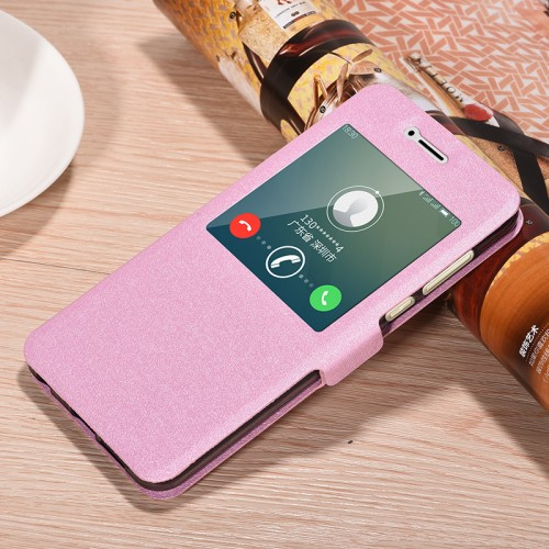 Чехол горизонтальная книжка подставка на силиконовой основе с окном вызова на магнитной защелке для Huawei Honor 8 Розовый