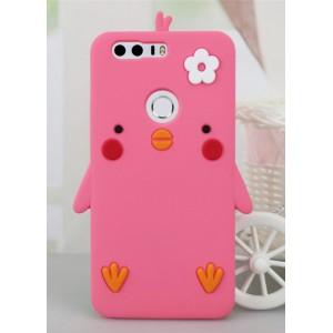 Силиконовый матовый непрозрачный дизайнерский фигурный чехол для Huawei Honor 8  Пурпурный