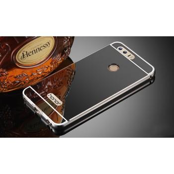 Двухкомпонентный чехол c металлическим бампером с поликарбонатной накладкой и зеркальным покрытием для Huawei Honor 8 Черный