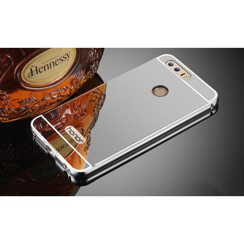 Двухкомпонентный чехол c металлическим бампером с поликарбонатной накладкой и зеркальным покрытием для Huawei Honor 8 Розовый