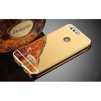 Двухкомпонентный чехол c металлическим бампером с поликарбонатной накладкой и зеркальным покрытием для Huawei Honor 8 Бежевый