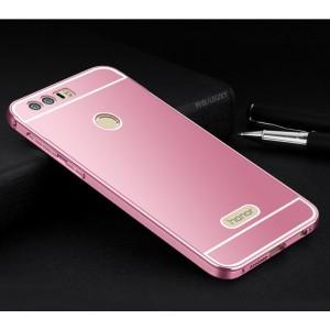 Двухкомпонентный чехол c металлическим бампером с поликарбонатной накладкой для Huawei Honor 8  Розовый