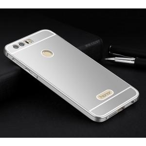 Двухкомпонентный чехол c металлическим бампером с поликарбонатной накладкой для Huawei Honor 8  Серый