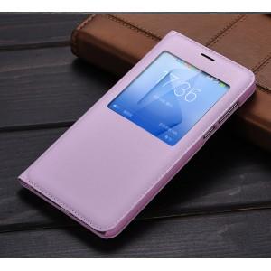 Чехол горизонтальная книжка текстура Золото на пластиковой основе с окном вызова для Huawei Honor 8  Розовый