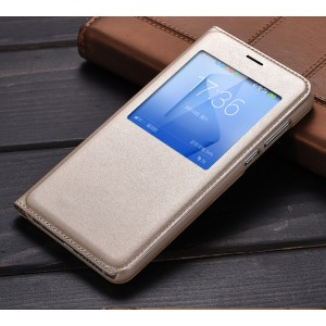 Чехол горизонтальная книжка текстура Золото на пластиковой основе с окном вызова для Huawei Honor 8  Бежевый