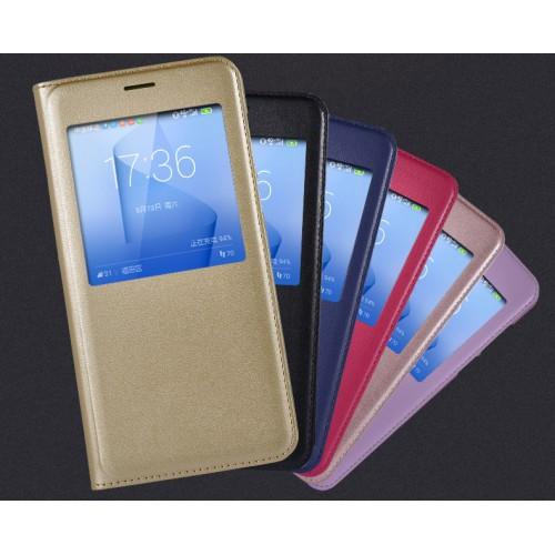 Чехол горизонтальная книжка текстура Золото на пластиковой основе с окном вызова для Huawei Honor 8
