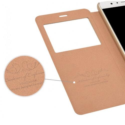Чехол горизонтальная книжка подставка на пластиковой основе с окном вызова для Huawei Honor 8 Белый