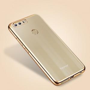 Силиконовый матовый полупрозрачный чехол с текстурным покрытием Металлик для Huawei Honor 8  Бежевый
