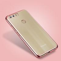 Силиконовый матовый полупрозрачный чехол с текстурным покрытием Металлик для Huawei Honor 8  Розовый