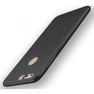 Пластиковый непрозрачный матовый чехол с повышенной шероховатостью для Huawei Honor 8  Черный