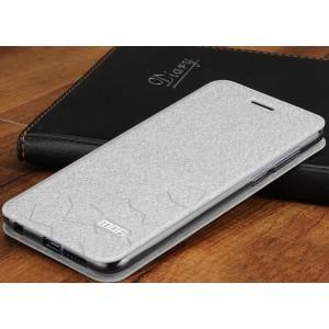 Чехол горизонтальная книжка подставка текстура Соты на силиконовой основе для Huawei Honor 8  Белый