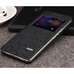 Чехол горизонтальная книжка подставка текстура Соты на силиконовой основе с окном вызова для Huawei Honor 8