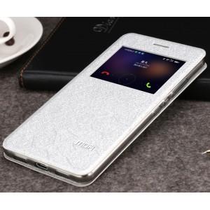 Чехол горизонтальная книжка подставка текстура Соты на силиконовой основе с окном вызова для Huawei Honor 8  Белый
