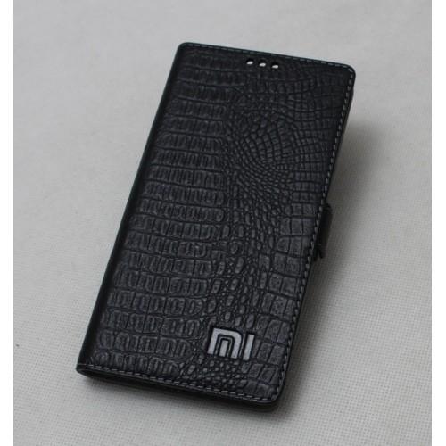 Кожаный чехол горизонтальная книжка подставка на силиконовой основе с крепежной застежкой текстура Крокодил для Xiaomi RedMi Pro