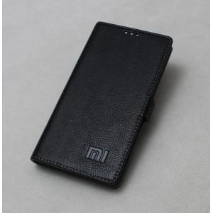 Кожаный чехол горизонтальная книжка подставка на силиконовой основе с крепежной застежкой для Xiaomi RedMi Pro  Черный