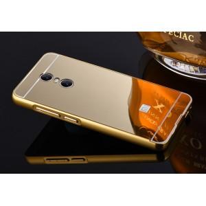 Двухкомпонентный чехол c металлическим бампером с поликарбонатной накладкой и зеркальным покрытием для Xiaomi RedMi Pro  Бежевый