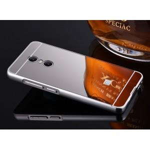 Двухкомпонентный чехол c металлическим бампером с поликарбонатной накладкой и зеркальным покрытием для Xiaomi RedMi Pro  Белый