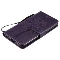 Винтажный чехол портмоне подставка на силиконовой основе на магнитной защелке для LG X Power  Фиолетовый