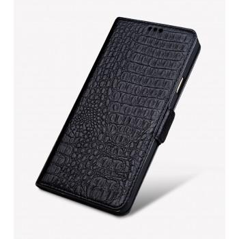 Кожаный чехол горизонтальная книжка подставка (премиум нат. кожа крокодила) с крепежной застежкой для Huawei Honor 8
