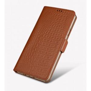 Кожаный чехол горизонтальная книжка подставка (премиум нат. кожа крокодила) с крепежной застежкой для Huawei Honor 8 Бежевый