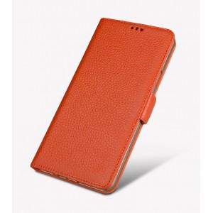 Кожаный чехол горизонтальная книжка подставка (премиум нат. кожа) с крепежной застежкой для Huawei Honor 8 Оранжевый