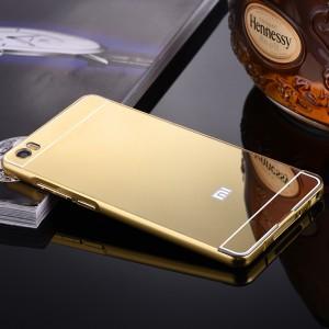Двухкомпонентный чехол c металлическим бампером с поликарбонатной накладкой и зеркальным покрытием для Xiaomi Mi Note  Бежевый