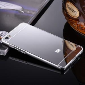 Двухкомпонентный чехол c металлическим бампером с поликарбонатной накладкой и зеркальным покрытием для Xiaomi Mi Note  Белый