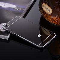 Двухкомпонентный чехол c металлическим бампером с поликарбонатной накладкой и зеркальным покрытием для Xiaomi Mi Note  Черный