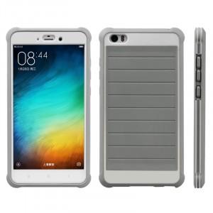 Противоударный двухкомпонентный силиконовый матовый непрозрачный чехол с поликарбонатными вставками экстрим защиты для Xiaomi Mi Note  Серый