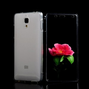 Двухкомпонентный силиконовый глянцевый полупрозрачный чехол горизонтальная книжка с акриловой полноразмерной транспарентной смарт крышкой для Xiaomi Mi4