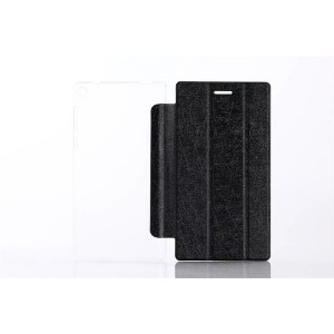 Сегментарный чехол книжка подставка текстура Линии на транспарентной поликарбонатной основе для Lenovo Tab 3 7  Черный