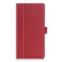 Чехол книжка подставка с рамочной защитой экрана, крепежом для стилуса, отсеком для карт и поддержкой кисти для Lenovo Tab 3 7  Красный