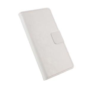 Глянцевый чехол горизонтальная книжка подставка на силиконовой основе с отсеком для карт на магнитной защелке для Asus ZenFone 3 5.2  Белый