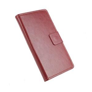 Глянцевый чехол горизонтальная книжка подставка на силиконовой основе с отсеком для карт на магнитной защелке для Asus ZenFone 3 5.2  Коричневый