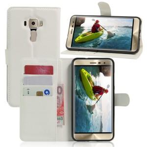 Чехол портмоне подставка на силиконовой основе на магнитной защелке для Asus ZenFone 3 5.2  Белый