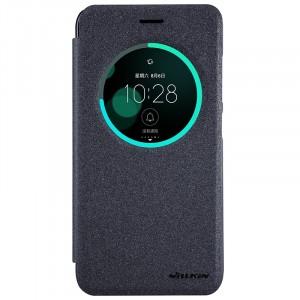 Чехол горизонтальная книжка на пластиковой нескользящей премиум основе с окном вызова для Asus ZenFone 3 5.2  Черный