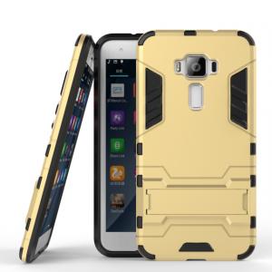 Противоударный двухкомпонентный силиконовый матовый непрозрачный чехол с поликарбонатными вставками экстрим защиты с встроенной ножкой-подставкой для Asus ZenFone 3 5.5 Бежевый