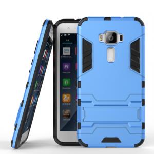 Противоударный двухкомпонентный силиконовый матовый непрозрачный чехол с поликарбонатными вставками экстрим защиты с встроенной ножкой-подставкой для Asus ZenFone 3 5.5 Голубой
