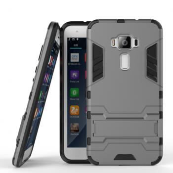 Противоударный двухкомпонентный силиконовый матовый непрозрачный чехол с поликарбонатными вставками экстрим защиты с встроенной ножкой-подставкой для Asus ZenFone 3 5.5