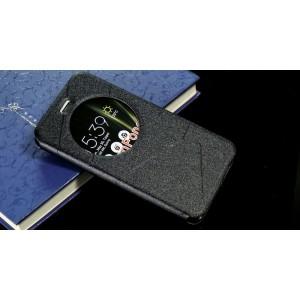 Чехол горизонтальная книжка подставка текстура Линии на силиконовой основе с окном вызова для Asus ZenFone 3 5.2  Черный
