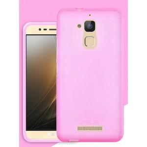 Силиконовый матовый полупрозрачный чехол для Asus ZenFone 3 Max Розовый