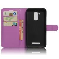 Чехол портмоне подставка на силиконовой основе на магнитной защелке для Asus ZenFone 3 Max Фиолетовый