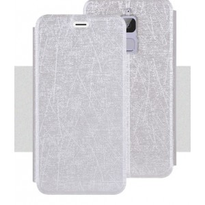 Чехол горизонтальная книжка подставка текстура Линии на силиконовой основе для Asus ZenFone 3 Max Белый
