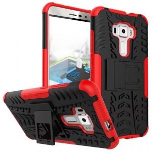 Противоударный двухкомпонентный силиконовый матовый непрозрачный чехол с поликарбонатными вставками экстрим защиты с встроенной ножкой-подставкой для Asus ZenFone 3 5.5 Красный