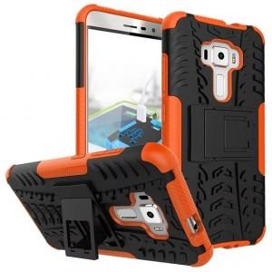 Противоударный двухкомпонентный силиконовый матовый непрозрачный чехол с поликарбонатными вставками экстрим защиты с встроенной ножкой-подставкой для Asus ZenFone 3 5.5 Оранжевый