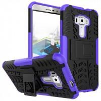 Противоударный двухкомпонентный силиконовый матовый непрозрачный чехол с поликарбонатными вставками экстрим защиты с встроенной ножкой-подставкой для Asus ZenFone 3 5.5 Фиолетовый