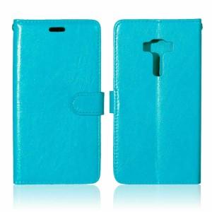 Глянцевый чехол портмоне подставка на силиконовой основе на магнитной защелке для Asus ZenFone 3 5.5 Голубой