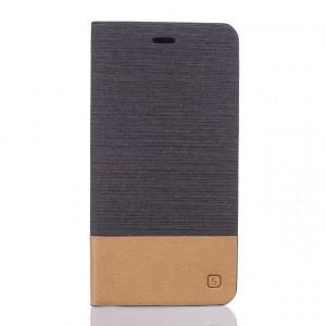 Чехол горизонтальная книжка подставка текстура Линии на силиконовой основе с тканевым покрытием и отсеком для карт для Asus ZenFone 3 5.5 Черный