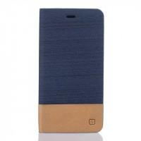 Чехол горизонтальная книжка подставка текстура Линии на силиконовой основе с тканевым покрытием и отсеком для карт для Asus ZenFone 3 5.5 Синий