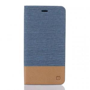 Чехол горизонтальная книжка подставка текстура Линии на силиконовой основе с тканевым покрытием и отсеком для карт для Asus ZenFone 3 5.5 Голубой